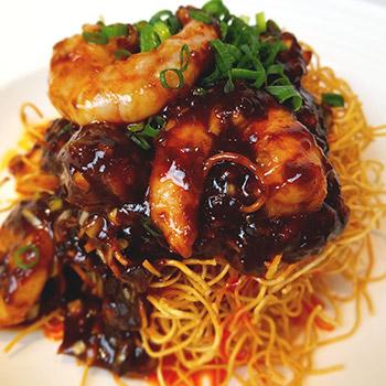 黒辣蝦脆麺
